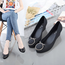 Load image into Gallery viewer, Rouroliu Women Jelly Rain Shoes Waterproof Pointed Toe Wedges Beach Sandals Height Increasing Casual Shoes Woman FR111 - Vipbeautycompany