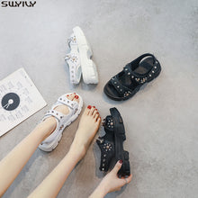 Load image into Gallery viewer, SWYIVY Leather Casual Shoes Woman Sandals 2020 Summer New Wedges Shoes For Women Sandals Ladies Hook Loop Solid Sandal Women 40 - Vipbeautycompany