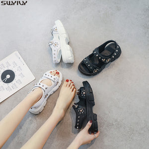SWYIVY Leather Casual Shoes Woman Sandals 2020 Summer New Wedges Shoes For Women Sandals Ladies Hook Loop Solid Sandal Women 40 - Vipbeautycompany