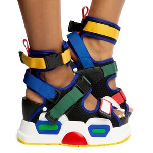 SWYIVY Leather Chunky Sandals Women Summer New 2020 Fashion Wedge Shoes For Women Casual Shoes Hook Loop Platform Sandals Ladies - Vipbeautycompany