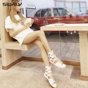 SWYIVY Leather Sandals For Women High Top Bandage Summer Shoes 2019 New Rome Sandals Female Casual Shoes White Summer 41 - Vipbeautycompany