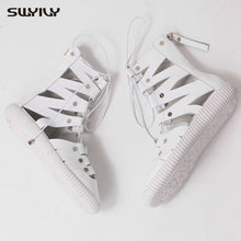 Load image into Gallery viewer, SWYIVY Leather Sandals For Women High Top Bandage Summer Shoes 2019 New Rome Sandals Female Casual Shoes White Summer 41 - Vipbeautycompany