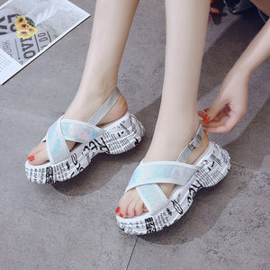 SWYIVY Summer Shoes Women Sandals Platform 2019 Ins Hot Cross Strap Female Summer Footwear Sandals Suquins Casual Shoes Sandal - Vipbeautycompany