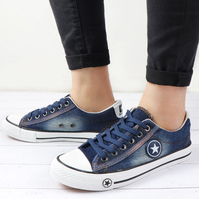Summer Women Trainers Sneakers Denim Canvas Shoes Female Lace Up ladies Casual Shoes vulcanized shoes Basket Femme zapatilla - Vipbeautycompany