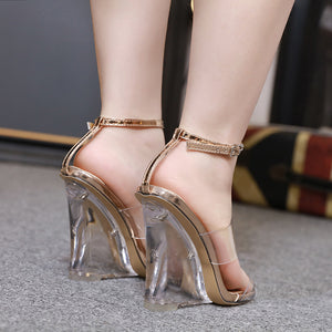 Summer women high heels transparent jelly sandals sexy ankle strap crystal wedges ladies shoes open toe clear sandals sandalias - Vipbeautycompany