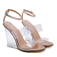 Load image into Gallery viewer, Summer women high heels transparent jelly sandals sexy ankle strap crystal wedges ladies shoes open toe clear sandals sandalias - Vipbeautycompany