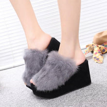 Load image into Gallery viewer, Thick Platform Sponge Cake Wool Slippers Women Korean Version with Rabbit Hair Word Slippers B02 - Vipbeautycompany