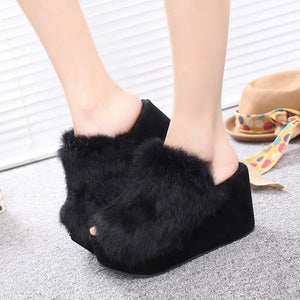 Thick Platform Sponge Cake Wool Slippers Women Korean Version with Rabbit Hair Word Slippers B02 - Vipbeautycompany