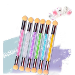 Tweekoppige Nail Spons Smudge Stick Nail Borstel Puntjes Manicure Pen Tekening Polish Brush Nail Care Decoratie Beauty Tools - Vipbeautycompany