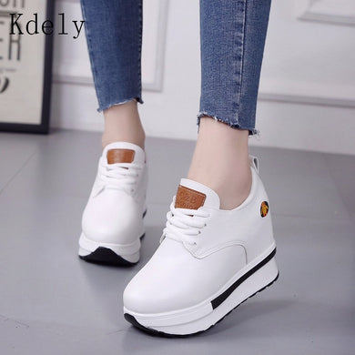 Vulcanized wedges Shoes Women High Top Sneakers Women Platform Ankle Boots Basket Femme Chaussures Femmes Height Increase Shoes - Vipbeautycompany