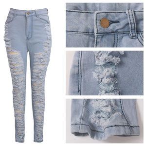 Wjustforu Sexy Ripped Jeans For Women Fashion Casual Club Hole Denim Pants Femme Bodycon Hollow Out Pencil Long Jeans Vestidos - Vipbeautycompany