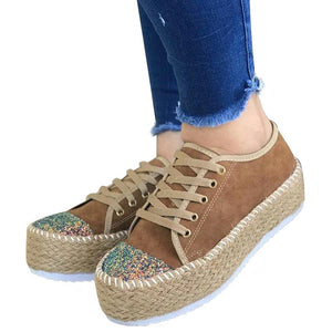 Women Fashion High Platform Flats Shoes Ladies Casual Mixed Color Lace UP Sneakers Bling Wearable Shoes - Vipbeautycompany