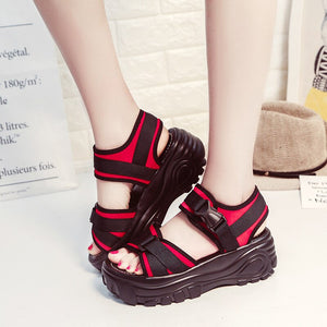 Women Sandals Platform Flats Gladiator Outdoor Platform Shoes Sandals Women Beach Summer Shoes Thick Bottom Rome Wedge Shoes - Vipbeautycompany