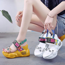 Load image into Gallery viewer, Women Sandals Wedges Shoes Crystal Print Gladiator Outdoor High Heel Platform Sandals Women Beach Summer Shoe Thick Bottom Rome - Vipbeautycompany