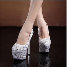Load image into Gallery viewer, Women Sexy Party Pumps Shoes Super High Heels Platform Crystal Bling Red Red Bottom Shoes - Vipbeautycompany