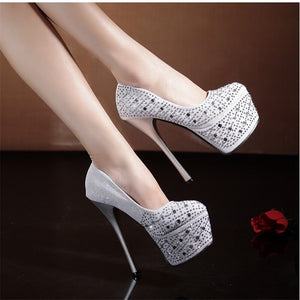 Women Sexy Party Pumps Shoes Super High Heels Platform Crystal Bling Red Red Bottom Shoes - Vipbeautycompany
