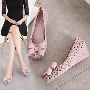 Women Summer Hollow Casual Rubber High Heel Shallow Butterfly Knot Wedges Flower Jelly Shoes Closed Toe Cut Out Sandals 20190326 - Vipbeautycompany