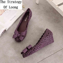 Load image into Gallery viewer, Women Summer Hollow Casual Rubber High Heel Shallow Butterfly Knot Wedges Flower Jelly Shoes Closed Toe Cut Out Sandals 20190326 - Vipbeautycompany