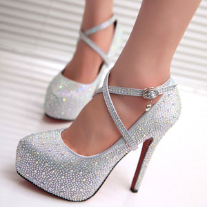 Women Sweet Rhinestone High Heels Shoes Woman Platform Bride Wedding Shoes Silver Pumps Women Shoes Red Bottom High Heels - Vipbeautycompany