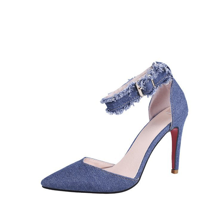 Women Thin Heels Sexy Denim Sexy  High Heels Shoes Shallow Mouth Slim Red Bottom Woman Shoes Dress Graduation Ceremony Pumps - Vipbeautycompany