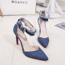 Load image into Gallery viewer, Women Thin Heels Sexy Denim Sexy  High Heels Shoes Shallow Mouth Slim Red Bottom Woman Shoes Dress Graduation Ceremony Pumps - Vipbeautycompany