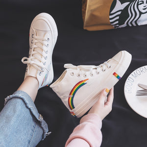 Women's Fashion 2020 Vulcanized Shoes Woman Sneakers New Rainbow Retro Canvas Shoes Flat Fashion Comfortable High Shoes Women - Vipbeautycompany