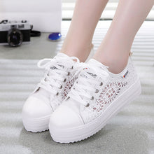 Load image into Gallery viewer, Women shoes cutouts lace canvas hollow breathable platform flat shoes woman sneakers 2019 fashion summer casual ladies shoes - Vipbeautycompany