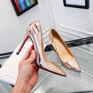 YEELOCA Spring Pointed High-heeled Shoes Shallow Mouth Stiletto Single Shoes Wedding Pumps Professional Red Bottom Women's Shoes - Vipbeautycompany