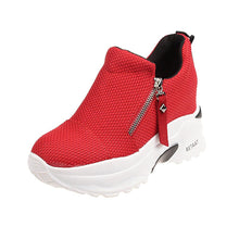 Load image into Gallery viewer, Women's Canvas Spring & Summer Casual Sneakers Hidden Heel Round Toe Black / Red - Vipbeautycompany