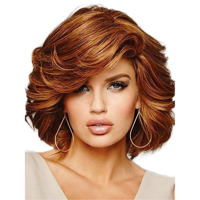 Human Hair Capless Wigs Human Hair Curly Short Hairstyles 2019 Side Part Medium Length Machine Made Wig Women's - Vipbeautycompany