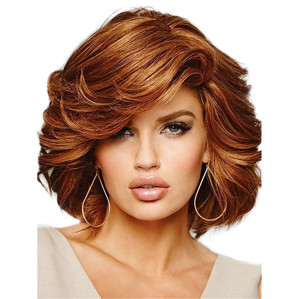 Human Hair Capless Wigs Human Hair Curly Short Hairstyles 2019 Side Part Medium Length Machine Made Wig Women's