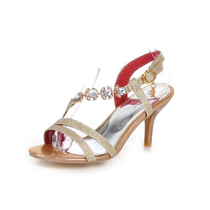 Women's Sandals Crystal Sandals Stiletto Heel Open Toe Crystal / Buckle PU(Polyurethane) Comfort Walking Shoes Summer Gold / Silver / Red / Party & Evening / Party & Evening - Vipbeautycompany