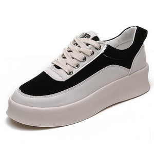 Women's Patent Leather Spring Sneakers Creepers Black / Gray - Vipbeautycompany