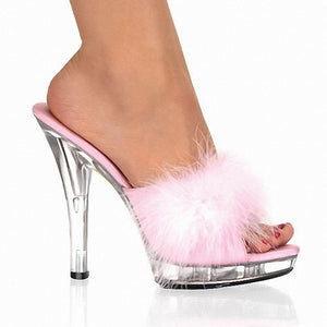 Women's Crystal Sandals PVC(Polyvinyl chloride) Summer Classic Slippers & Flip-Flops Crystal Heel Peep Toe Crystal / Feather Black / Red / Pink / Party & Evening - Vipbeautycompany