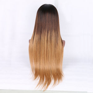 Remy Human Hair Lace Front Wig Middle Part Beyonce style Peruvian Hair Silky Straight Blonde Wig 130% Density with Baby Hair Ombre Hair For Black Women Blonde Women's Medium Length Ombre Aili Young - Vipbeautycompany