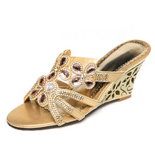 Load image into Gallery viewer, Women's Sandals Flat Heel / Wedge Heel Open Toe Rhinestone / Crystal / Sparkling Glitter Microfiber Comfort / Novelty / Slingback Walking Shoes Summer / Fall Gold / Blue / Club Shoes / Wedding - Vipbeautycompany