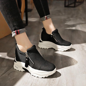 Women's Canvas Spring & Summer Casual Sneakers Hidden Heel Round Toe Black / Red - Vipbeautycompany