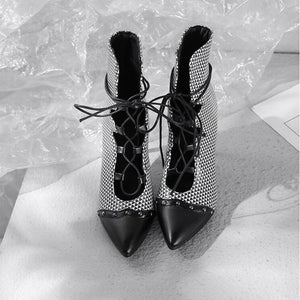 Women's PU(Polyurethane) Spring & Summer Boots Stiletto Heel Pointed Toe Black / Rainbow / Party & Evening - Vipbeautycompany