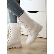 Load image into Gallery viewer, Women's Boots Flat Heel Round Toe Lace-up Leatherette Mid-Calf Boots Snow Boots / Riding Boots Fall / Winter White / Black - Vipbeautycompany
