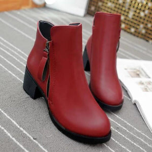 Women's Boots Chunky Heel Pointed Toe / Closed Toe PU(Polyurethane) Booties / Ankle Boots Comfort Winter Black / Red - Vipbeautycompany