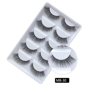 MB 5 Pairs Mink Eyelashes 2019 New 3D Mink Lashes Thick HandMade Full Strip Fake Lashes Make up Eye lashe False Eyelashes Makeup - Vipbeautycompany