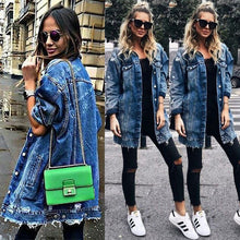 Load image into Gallery viewer, VIP2020 Basic Coat Holes Baggy Denim Jacket Long Sleeve Loose Street Style Outwear Winter NEW - Vipbeautycompany