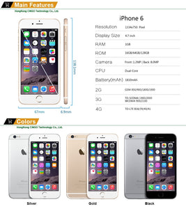 Unlocked Apple iPhone 6 1GB RAM 4.7 inch IOS Dual Core 1.4GHz 16/64/128GB ROM 8.0 MP Camera 3G WCDMA 4G LTE Used Mobile phone - Vipbeautycompany