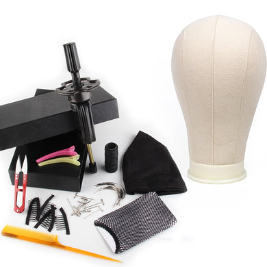 vipbeautycompany.com 11 PCS Wig Making Kit Canvas Block Head With Stand Mannequin Head Diy Dome Wig Cap Combs Needles T pins Thread Clamp - Vipbeautycompany