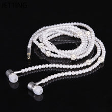 Load image into Gallery viewer, New Pink rhinestone Jewelry Pearl Necklace Earphones With Microphone Earbuds for iphone Xiaomi Brithday Gift - Vipbeautycompany