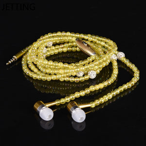 New Pink rhinestone Jewelry Pearl Necklace Earphones With Microphone Earbuds for iphone Xiaomi Brithday Gift - Vipbeautycompany