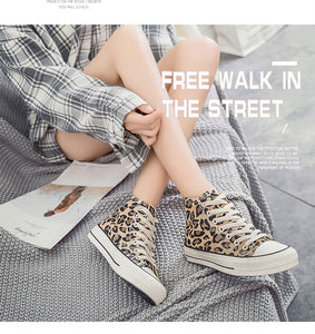 Leopard Canvas Platform Low Top Casual Sneakers - Vipbeautycompany