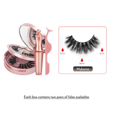 Load image into Gallery viewer, Double Layer Magnetic False Eyelashes & Magnetic Eyeliner 5 Magnets Natural Soft Fake Eyelashes Extension 2 Pairs with Tweezers - Vipbeautycompany