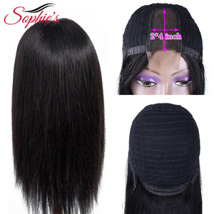 Sophie's Brazilian Straight 2*4 Middle Part Lace Part Wig Human Hair Wigs Non-Remy With Baby Hair Pre Plucked Natural Color - Vipbeautycompany
