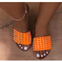Load image into Gallery viewer, Wild Rivet EVA Leather Spiked Flat Sandal - Vipbeautycompany